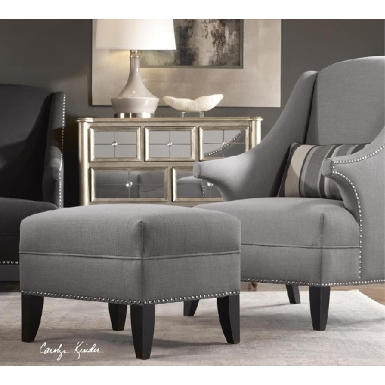 Shop 24 zinc gray linen blend footstool ottoman free shipping today overstock com 17903042