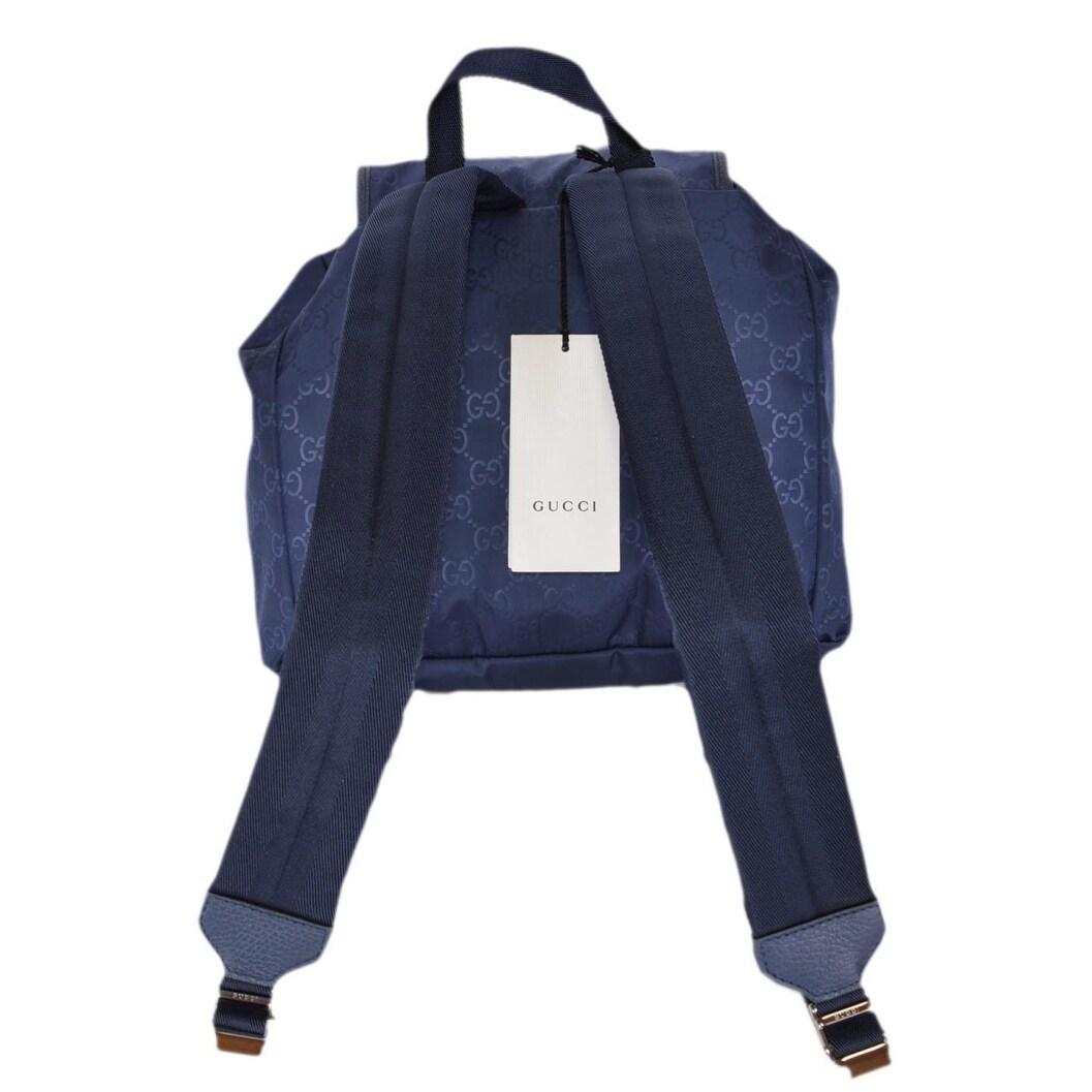 17cb272b88585e Shop Gucci 510343 Tide Blue Nylon GG Guccissima Backpack Rucksack Purse Bag  - 12.5