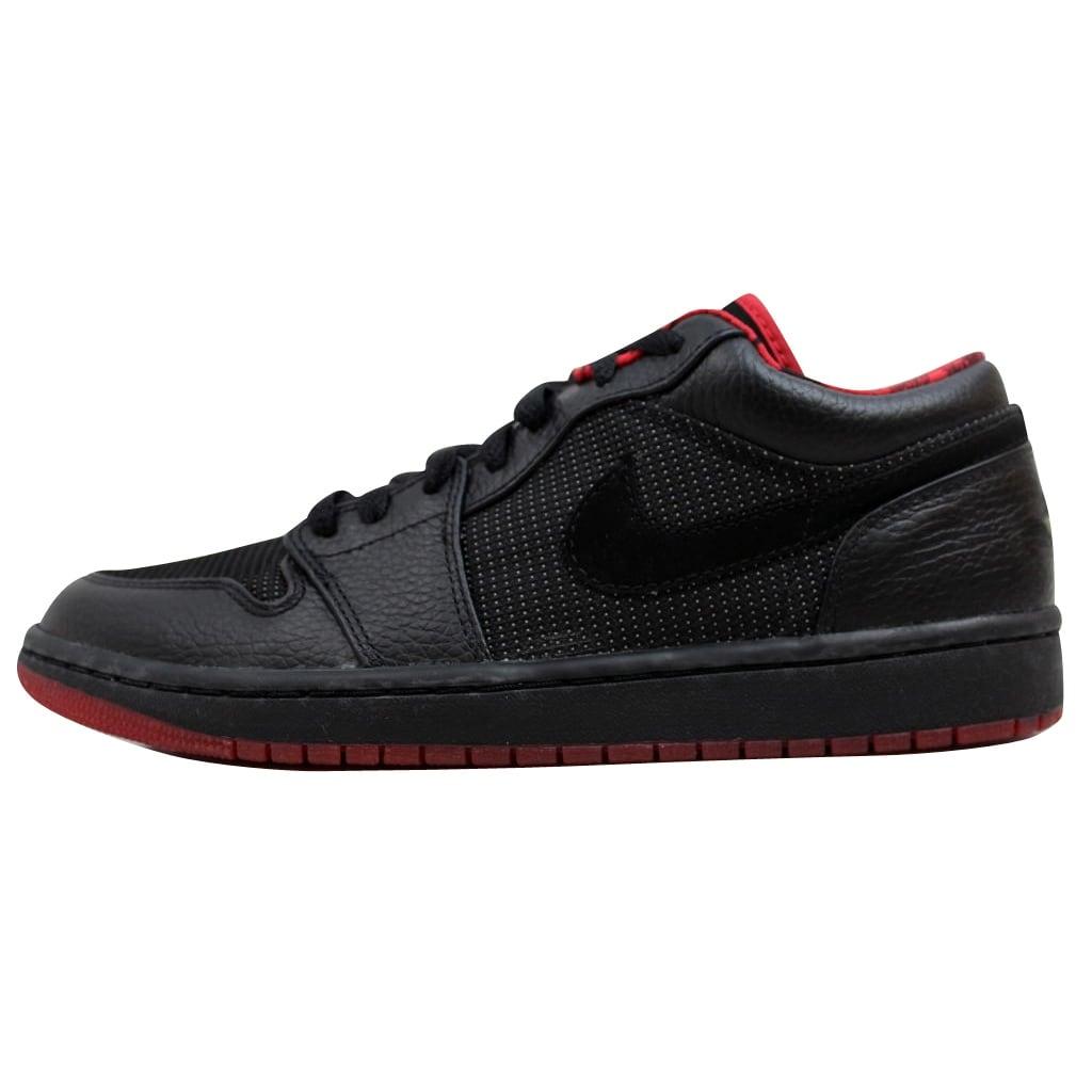 Nike Men s Air Jordan I 1 Retro Low Black Metallic Silver-Varsity Red  309192-001 5f7cf628769d