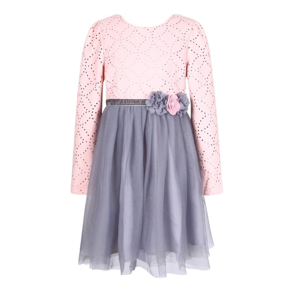 Richie House Girls Pink Grey Floral Mesh Layered Flower Girl Dress