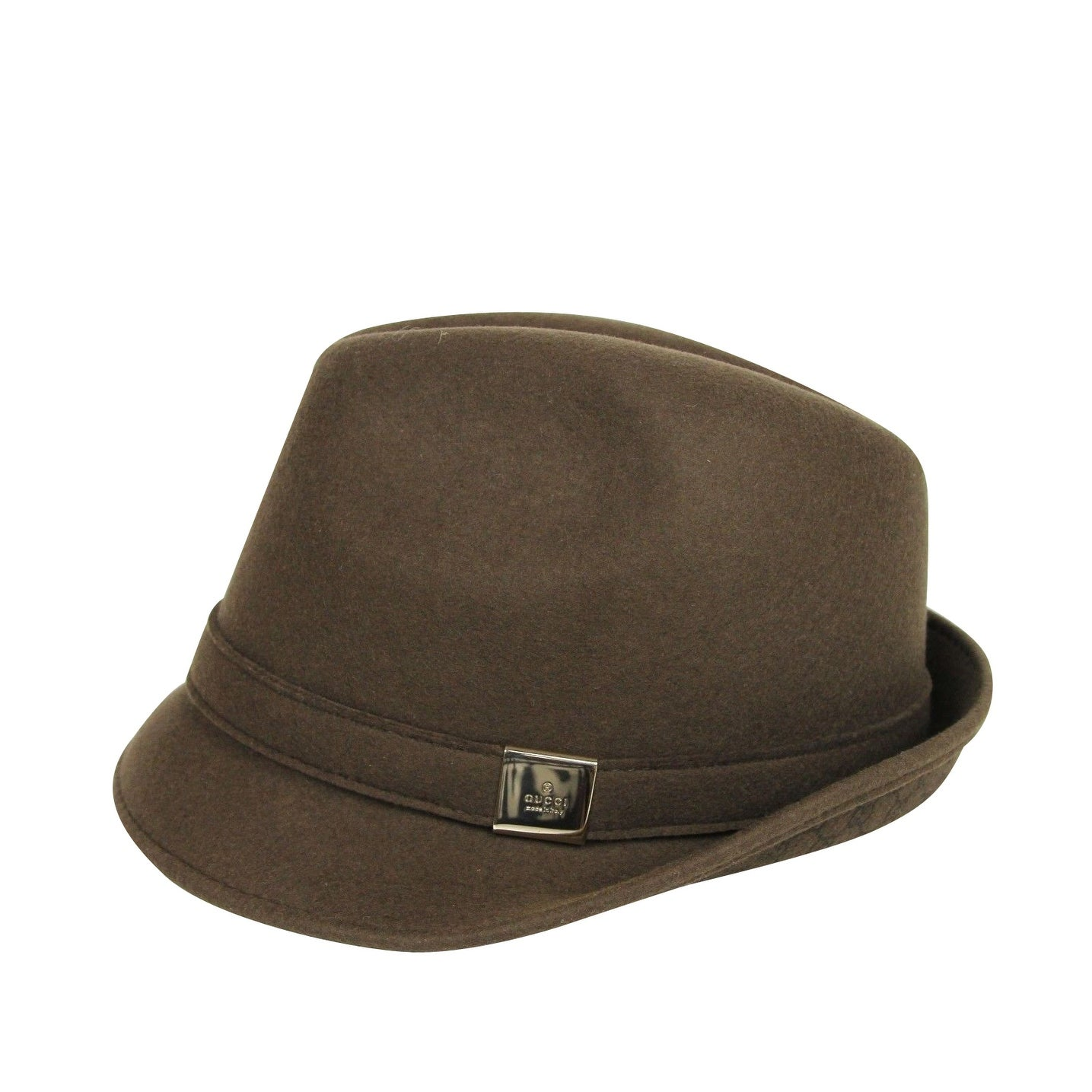 535f7638 Shop Gucci Unisex Silver Plaque Logo Brown Wool Fedora Hat 322289 2366 -  Free Shipping Today - Overstock - 28414692