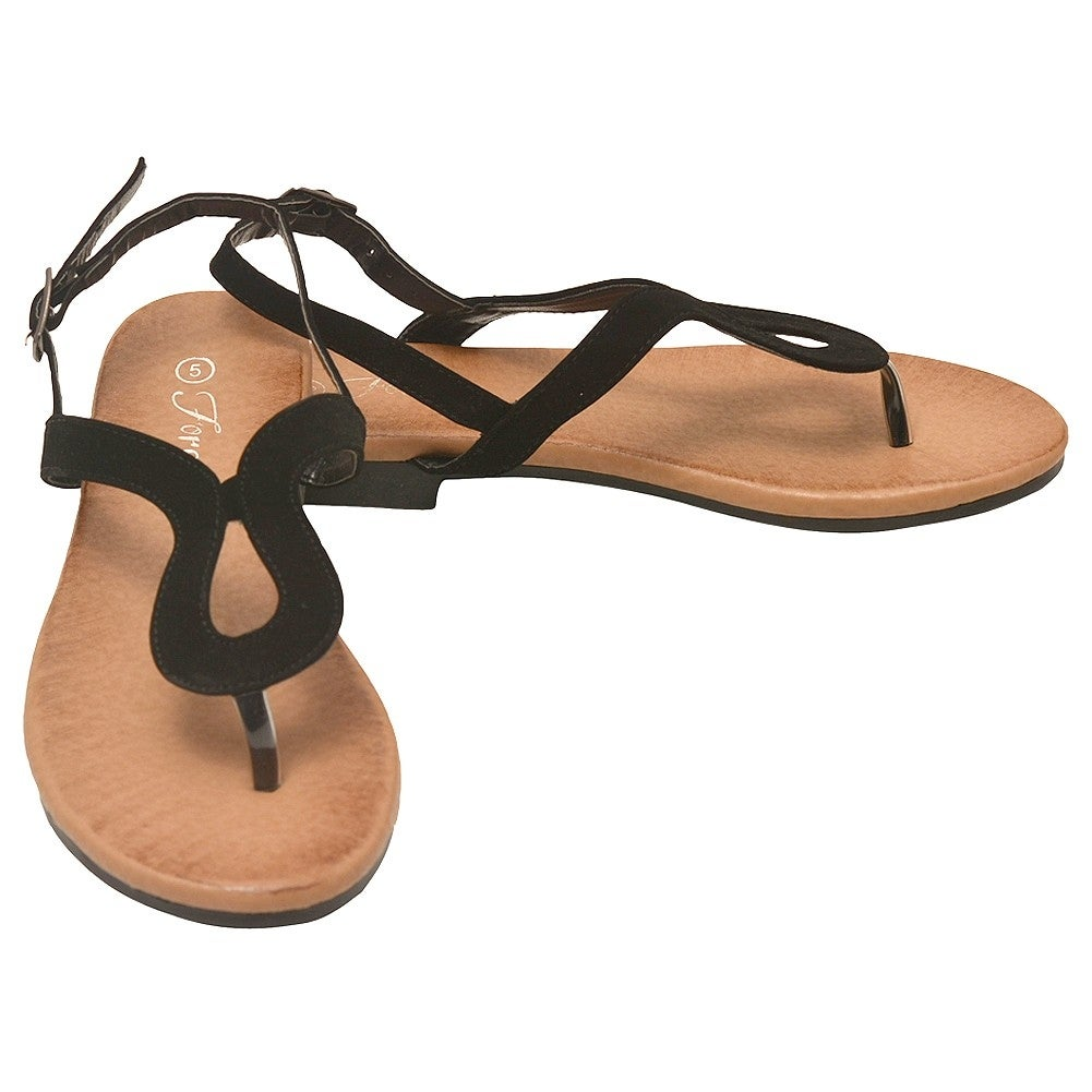 4a2c14a3df0b Shop Adult Black Curved Shape Thong Strap Buckle Flip Flop Sandals - Free  Shipping On Orders Over  45 - Overstock - 18823733
