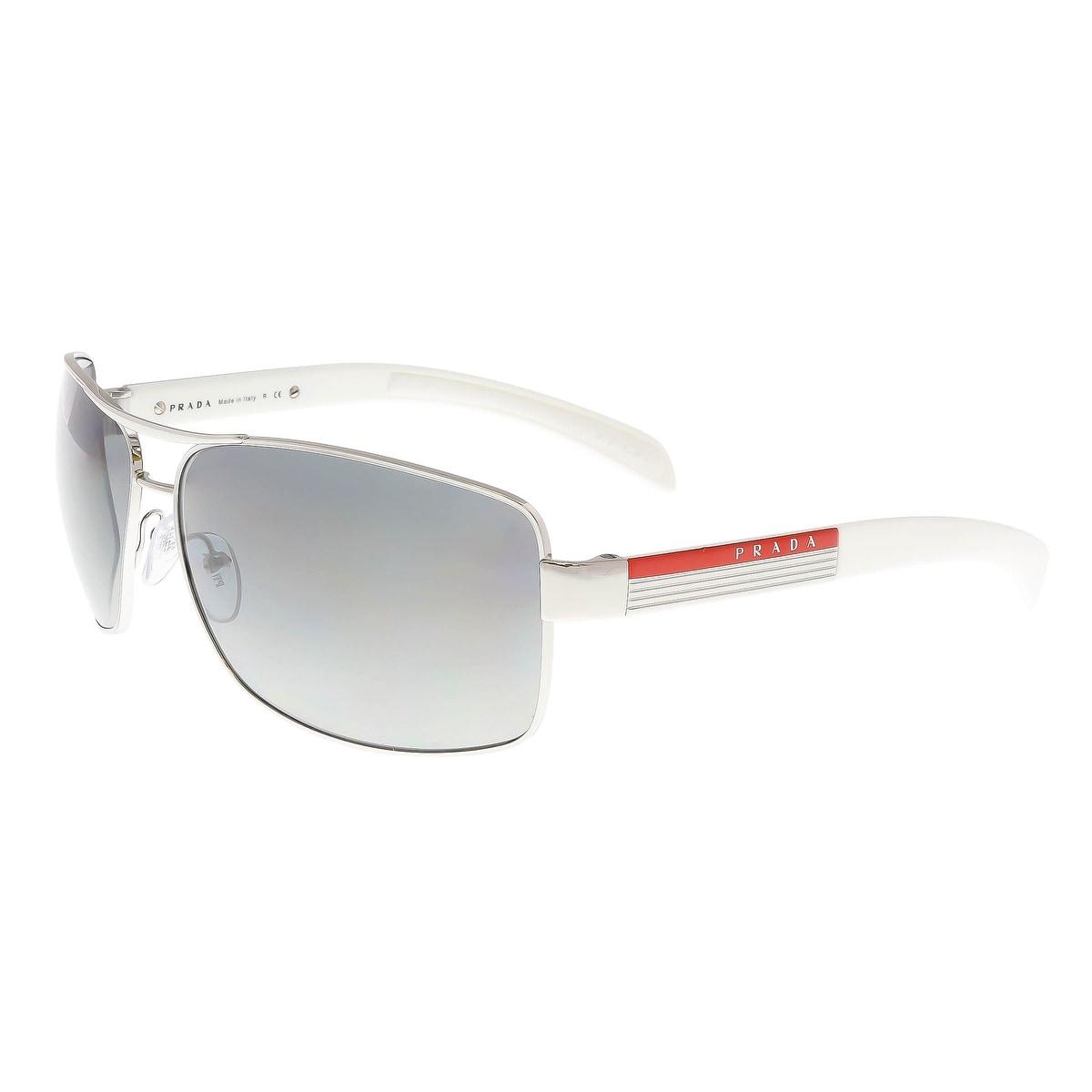 22cc5d6689 Prada Linea Rossa PS 54IS 1BC3M1 Silver Rectangle Sunglasses - 65-14-125