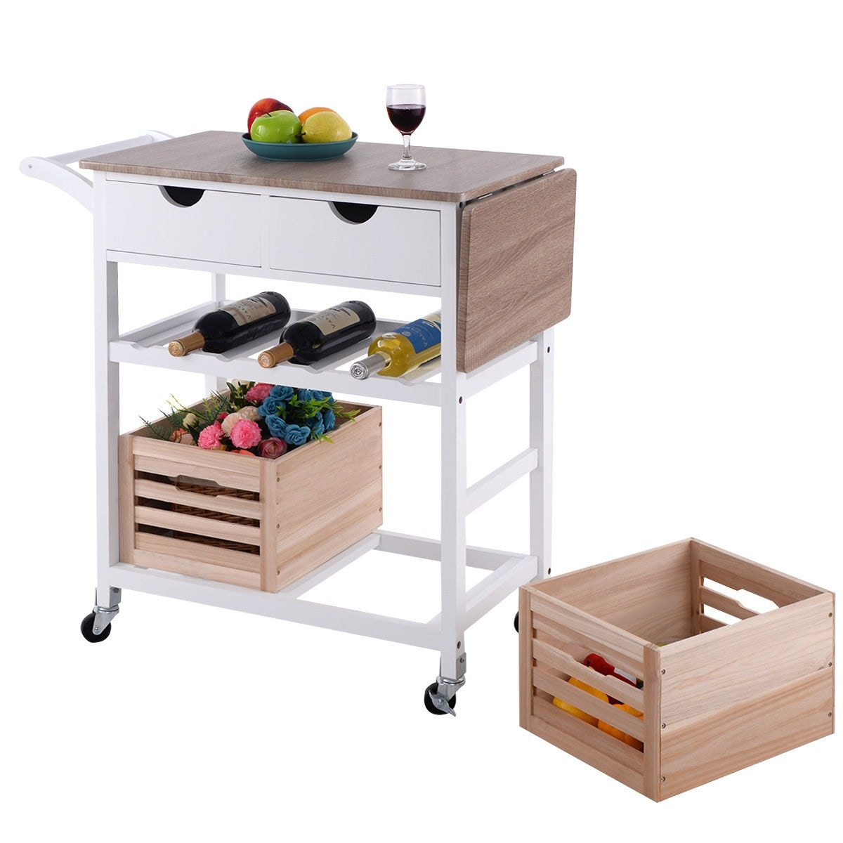 Costway rolling kitchen trolley island cart drop leaf w storage costway rolling kitchen trolley island cart drop leaf w storage drawer basket wine rack free shipping today overstock 24568317 workwithnaturefo