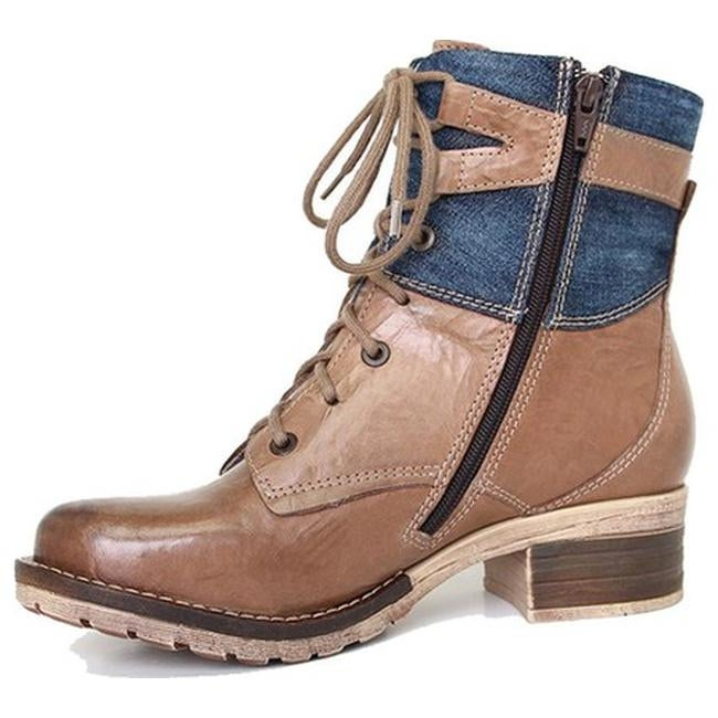 66340d58a19509 Shop Dromedaris Women s Kara Denim Boot Taupe Leather - Free Shipping Today  - Overstock - 14582437