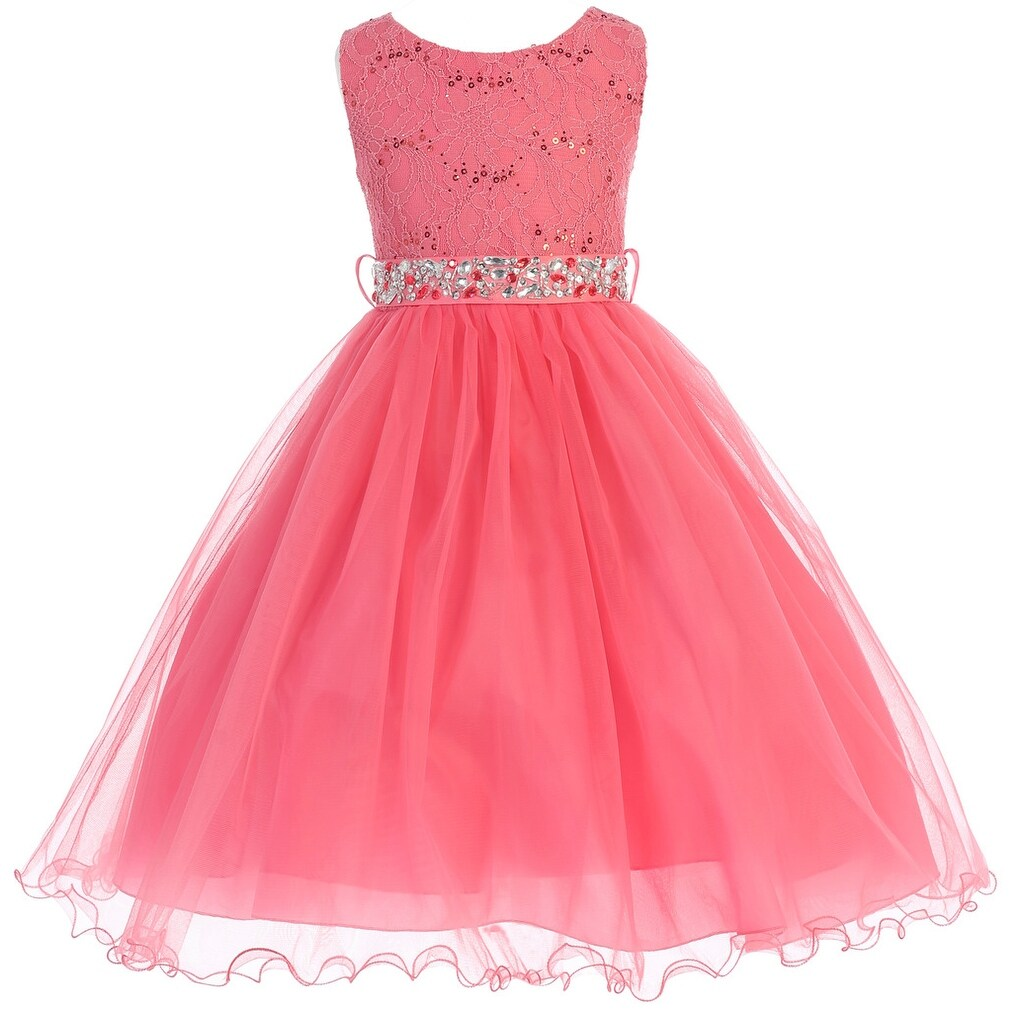 Shop Flower Girl Dress Glitter Sequin Top & Rhinestone Sash Coral JK ...