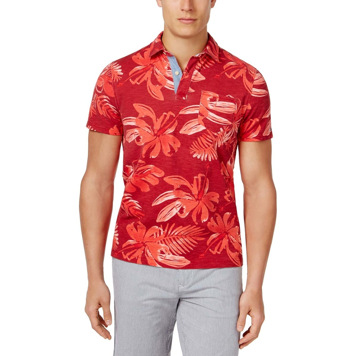 Tommy Hilfiger Mens Custom Fit Solid Color Polo Shirt Joe Maloy