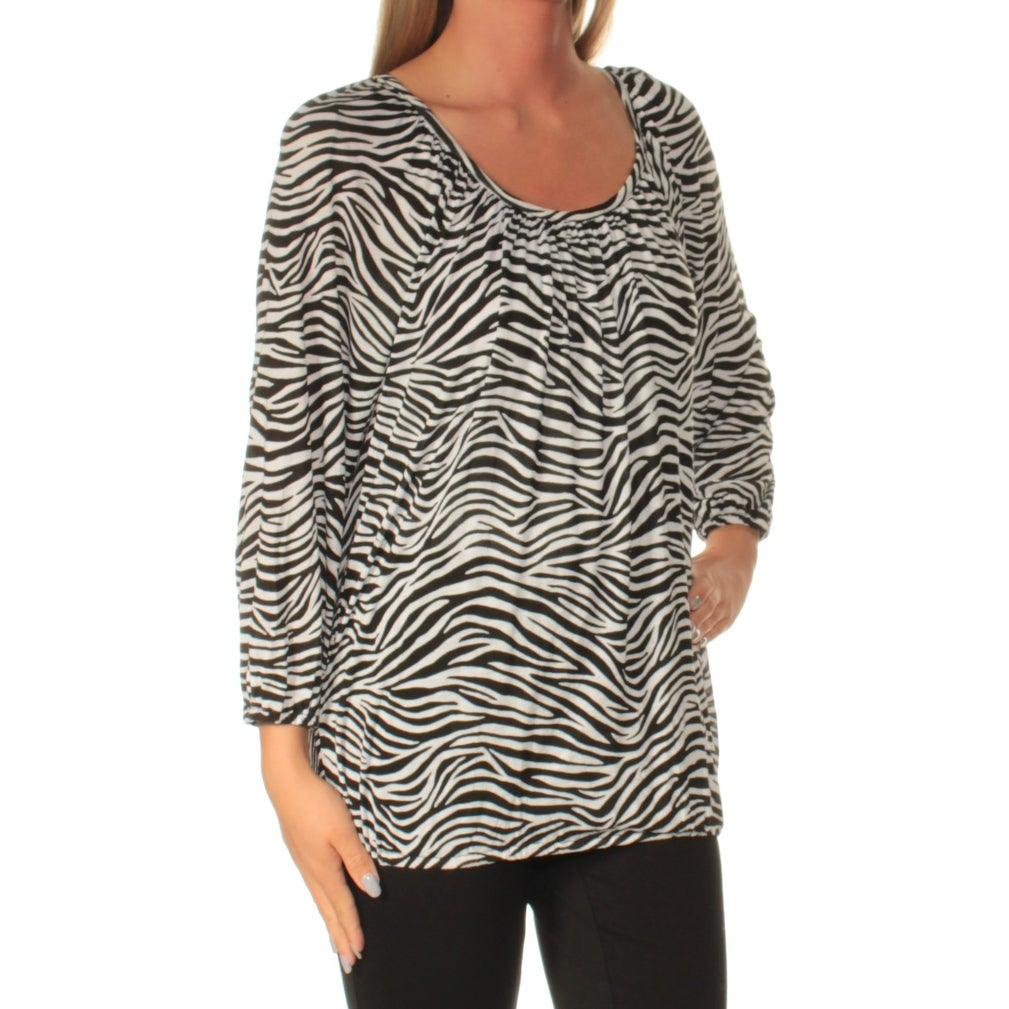 ad23ca212714b Shop Womens Black White Animal Print Long Sleeve Scoop Neck Casual Top Size  S - Free Shipping On Orders Over  45 - Overstock.com - 22425067