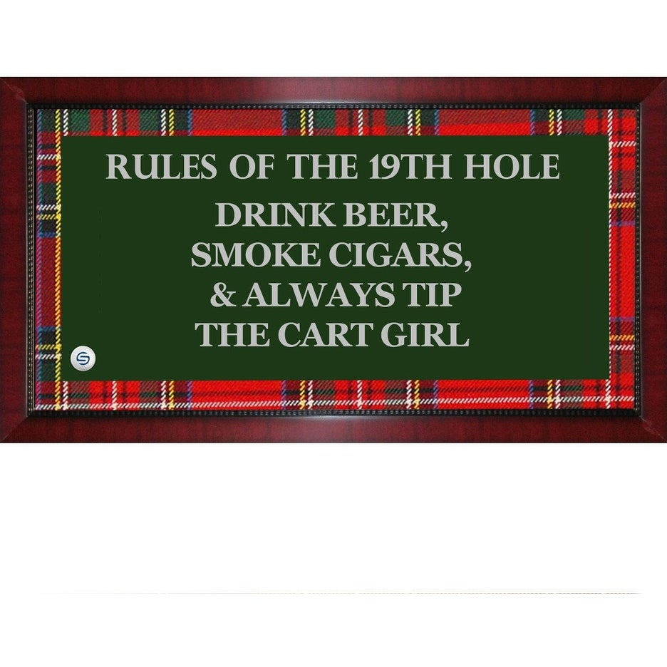 Rules of the 19th Hole Framed 95x19 Sign W Tartan Plaid Boarder Uns ...