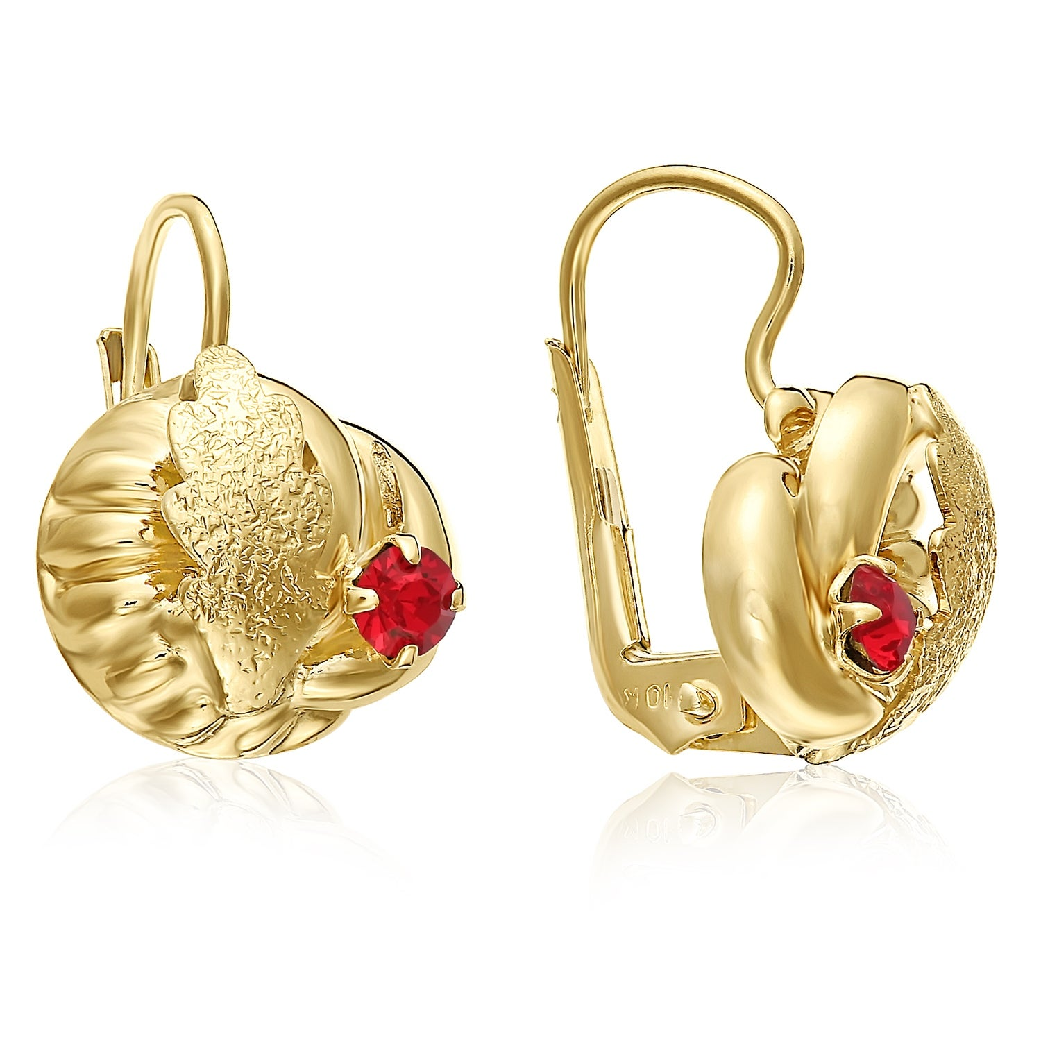 4ede9782e Shop Mcs Jewelry Inc 10 KARAT YELLOW GOLD STUD EARRINGS WITH LEAF DESIGN  AND RED STONE - On Sale - Free Shipping Today - Overstock - 11861799