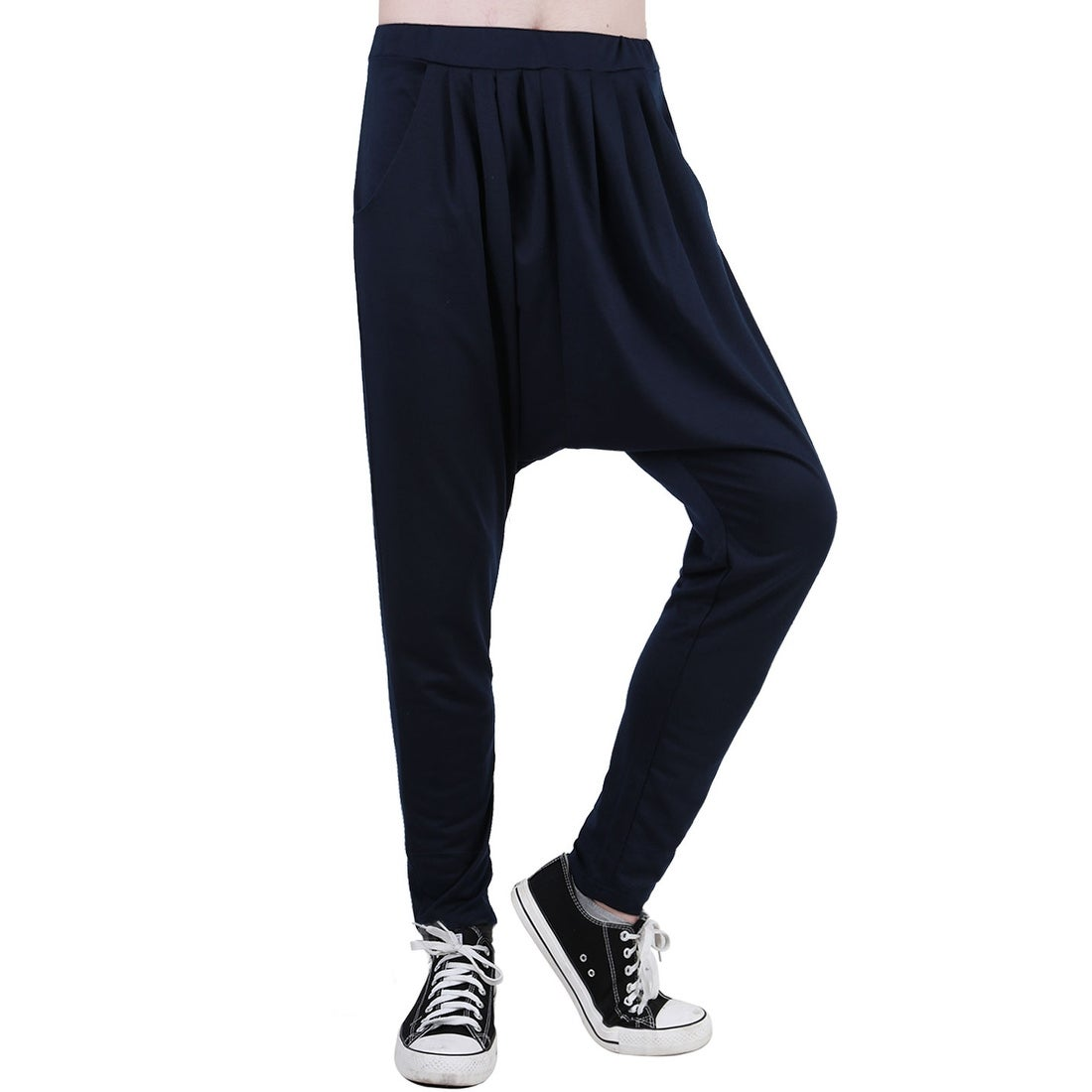 e84650b94c Unique Bargains Men's Elastic Waist Slant Pockets Tapered Leg Baggy Harem  Pants