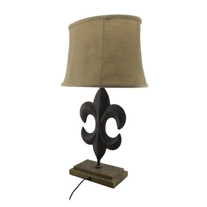 Shop rustic brown fleur de lis table lamp with linen look shade shop rustic brown fleur de lis table lamp with linen look shade free shipping today overstock 19389843 aloadofball Choice Image