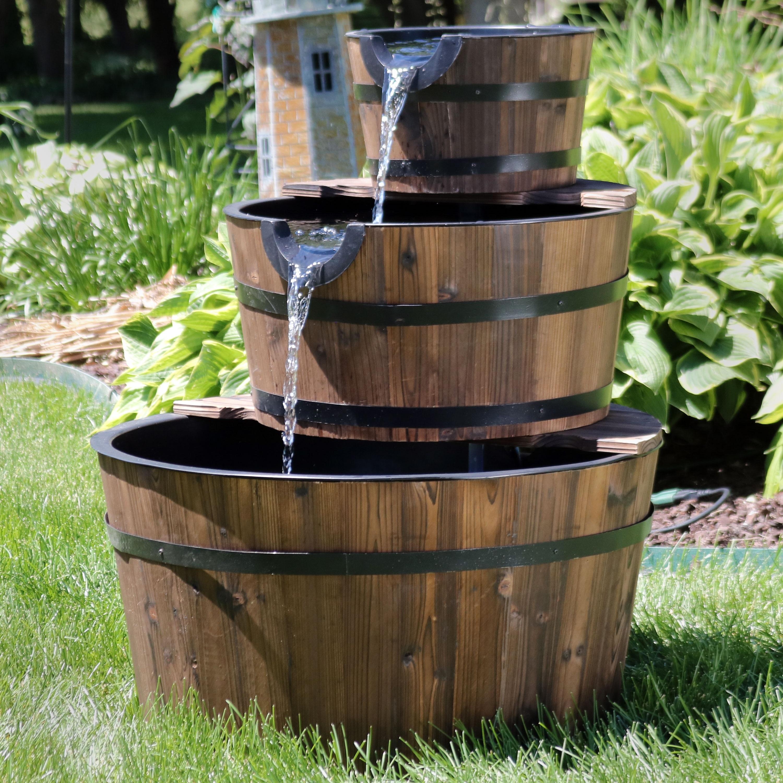 Shop Sunnydaze Rustic 3-Tier Wood Barrel Outdoor Garden Water ...