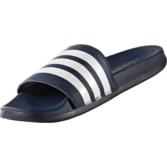 42a54e35547a Shop adidas Women s Adilette Cloudfoam Plus Stripes Slide Sandal Collegiate  Navy FTWR White Collegiate Navy - Free Shipping On Orders Over  45 -  Overstock - ...