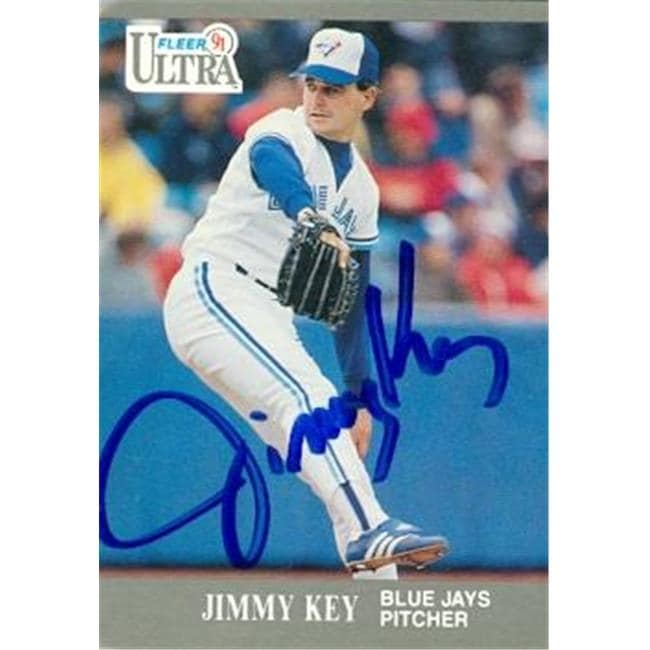 Jimmy Key Autographed Baseball Card Toronto Blue Jays 1991 Fleer