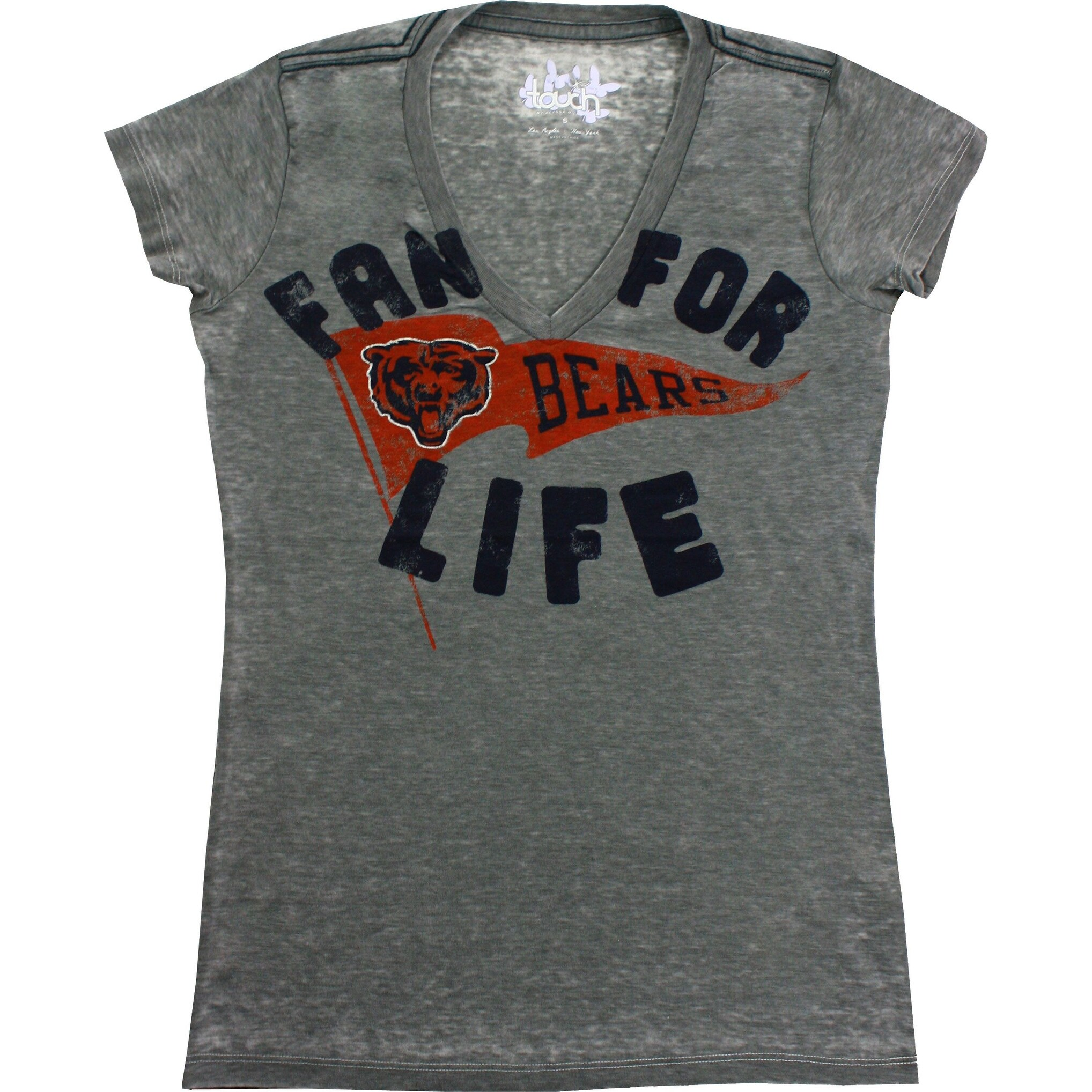 Shop Chicago Bears Women's Gray Fan for Life V Neck T Shirt Free  for sale