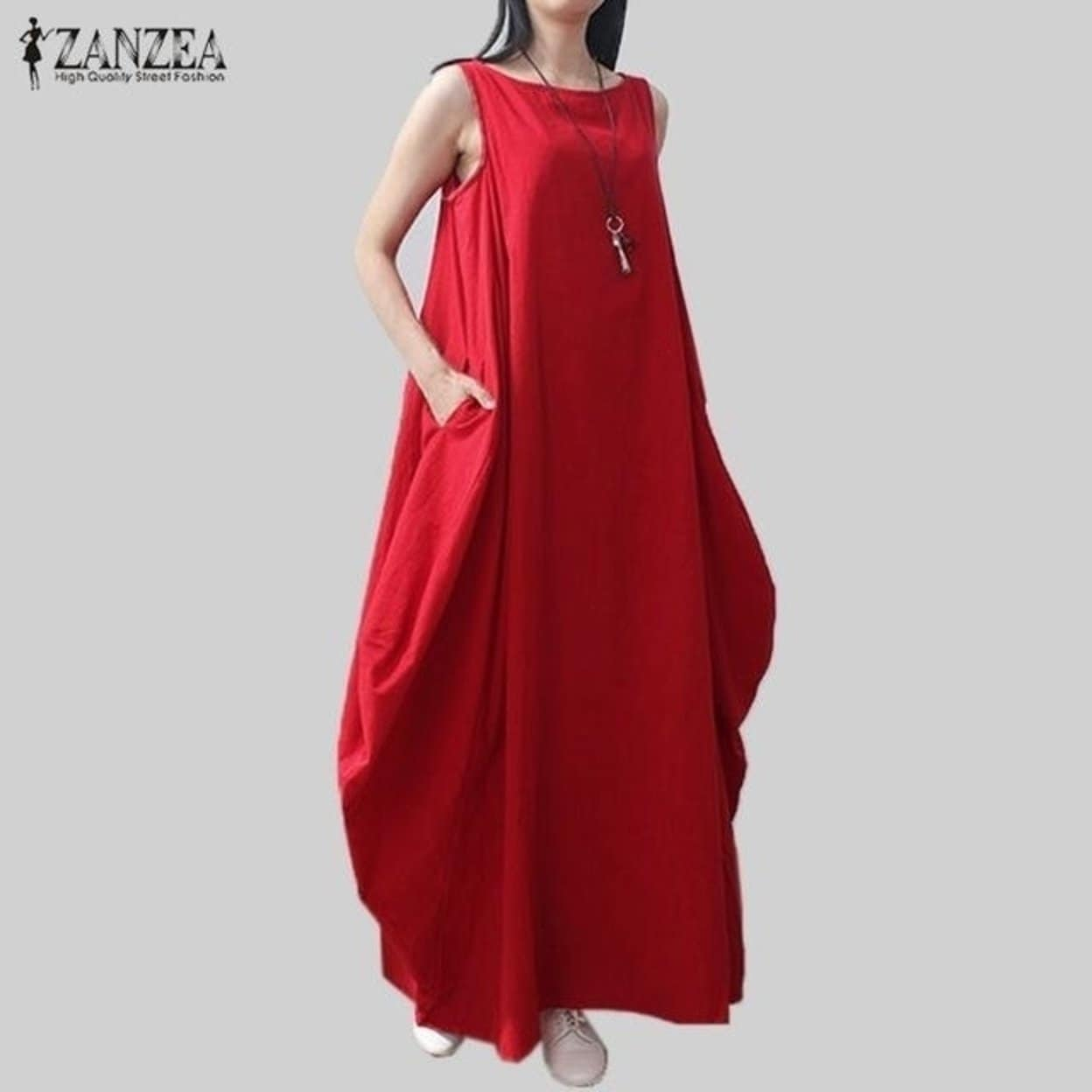 41096c8c23d Casual Retro Solid Summer Dress 2017 Women Elegant Loose Sleeveless O Neck Dress  Cotton Linen Long Maxi Dress Vestidos Plus Size