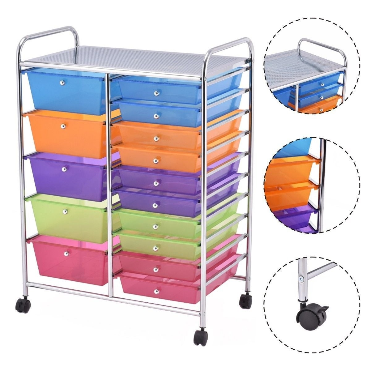 Shop Gymax Rolling Storage Cart 15 Drawers Organize Shelf Office School    On Sale   Free Shipping Today   Overstock.com   22888563