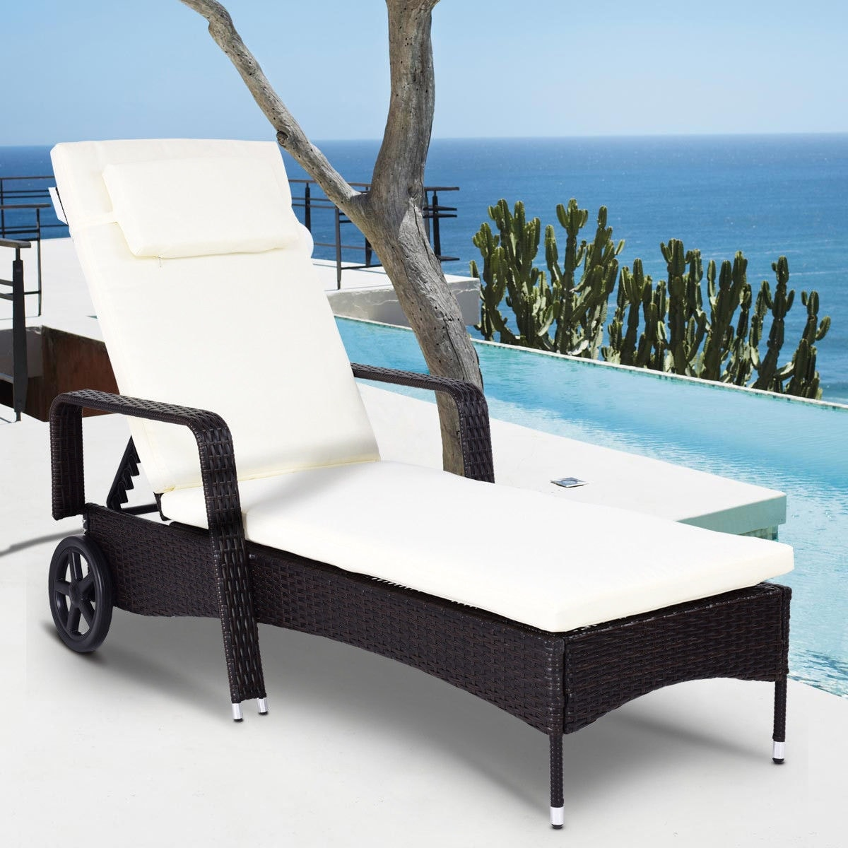 Costway Outdoor Chaise Lounge Chair Recliner Cushioned Patio Furniture Adjule Wheels Brown Free Shipping Today 20445689