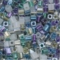 Miyuki 4mm Glass Cube Beads Color Mix Serenity Greens Purples 10 Grams