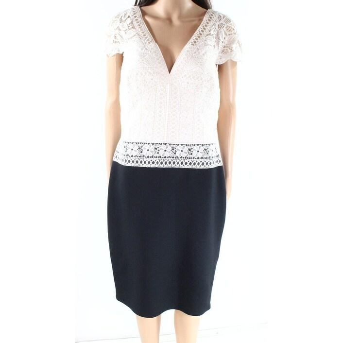 f6f9668f Shop Tadashi Shoji Black Womens Size 10 Crochet Neoprene Sheath ...