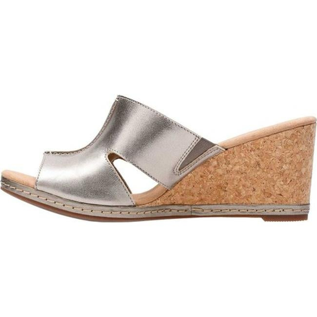 b6d8d09e7f2 Shop Clarks Women s Lafley Mio Wedge Pewter Metallic Full Grain Leather -  Free Shipping Today - Overstock - 20702505