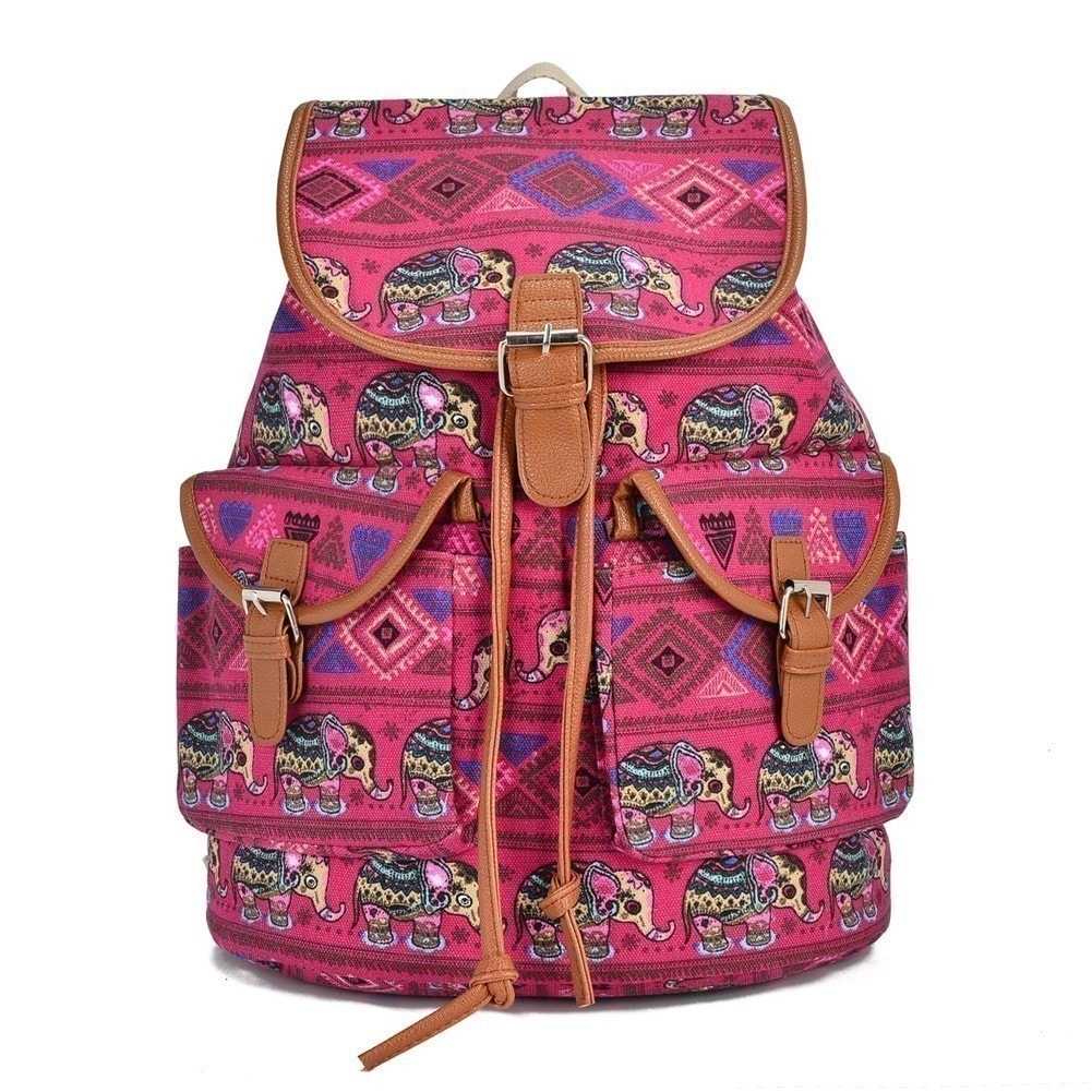 sale retailer b397a 0a426 Shop Hearty Trendy Girls Women Red Elephant Print Exterior Pockets Backpack  - One Size - Free Shipping On Orders Over  45 - Overstock - 18679406
