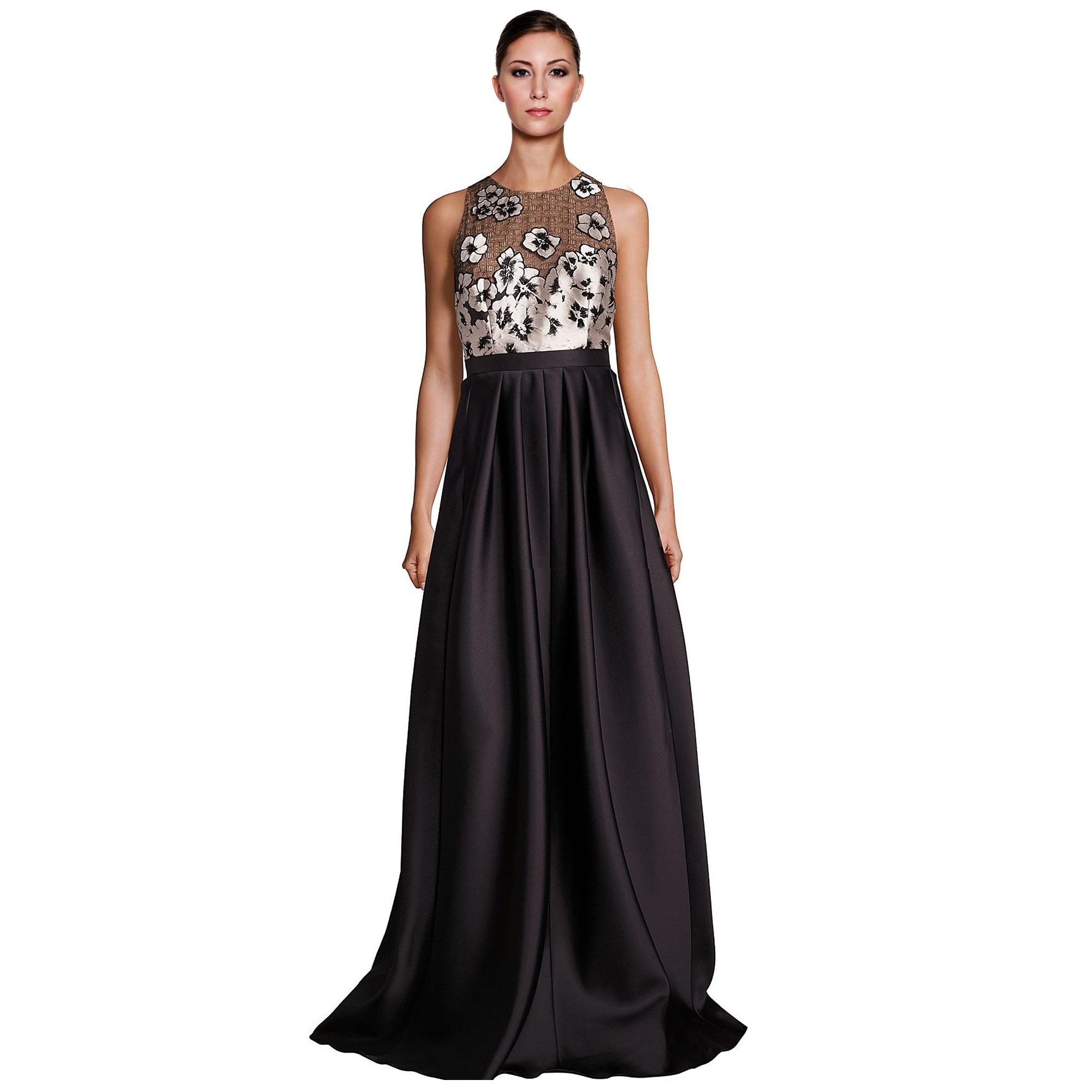 cd6532c187 Carmen Marc Valvo Embellished Floral Applique Evening Gown Dress Black Cream