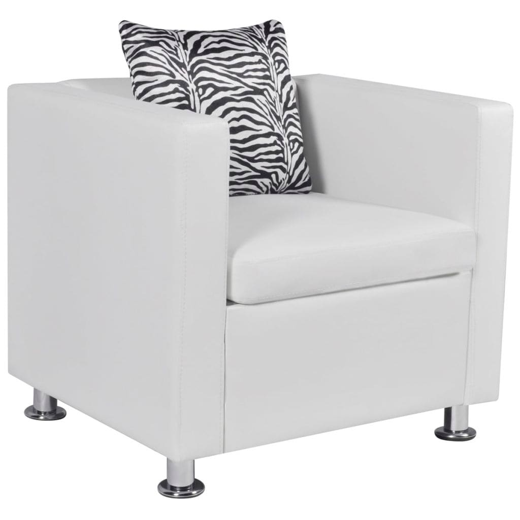 Shop Vidaxl Cube Armchair Artificial Leather White With Pillow