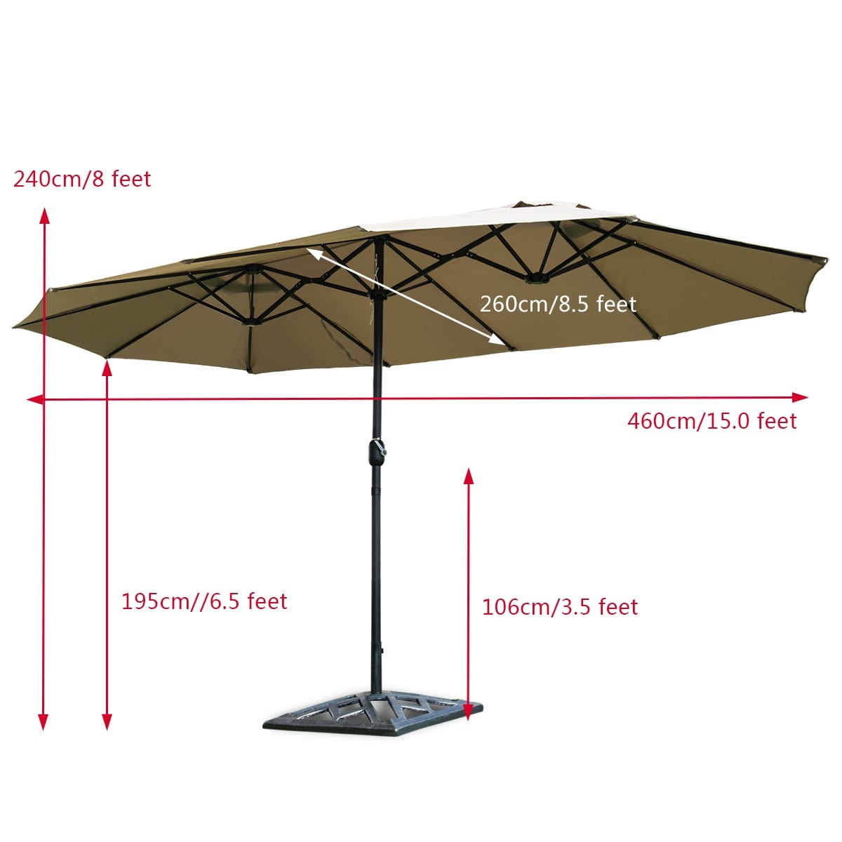 Shop Costway 15 Market Outdoor Umbrella Double Sided Twin Patio