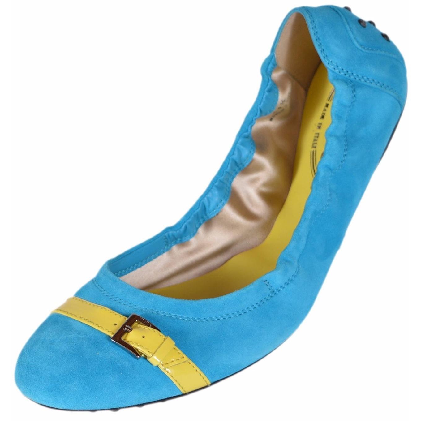 Shop Tod\'s Women\'s Turquoise Suede Dee Fibbietta Ballerina Ballet ...
