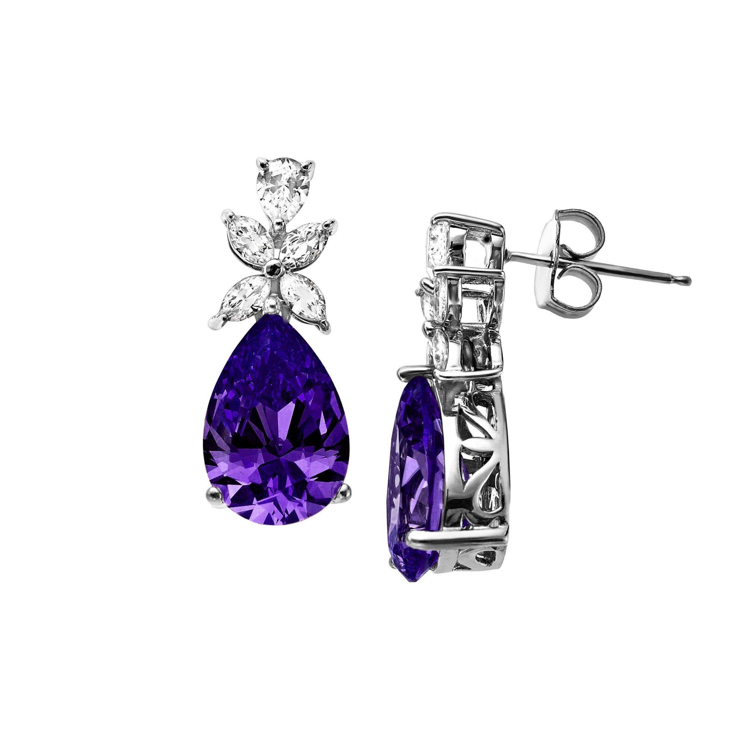 143caa90b Shop Teardrop Earrings with Violet Swarovski Zirconia in Sterling Silver -  Purple - Ships To Canada - Overstock - 13885734