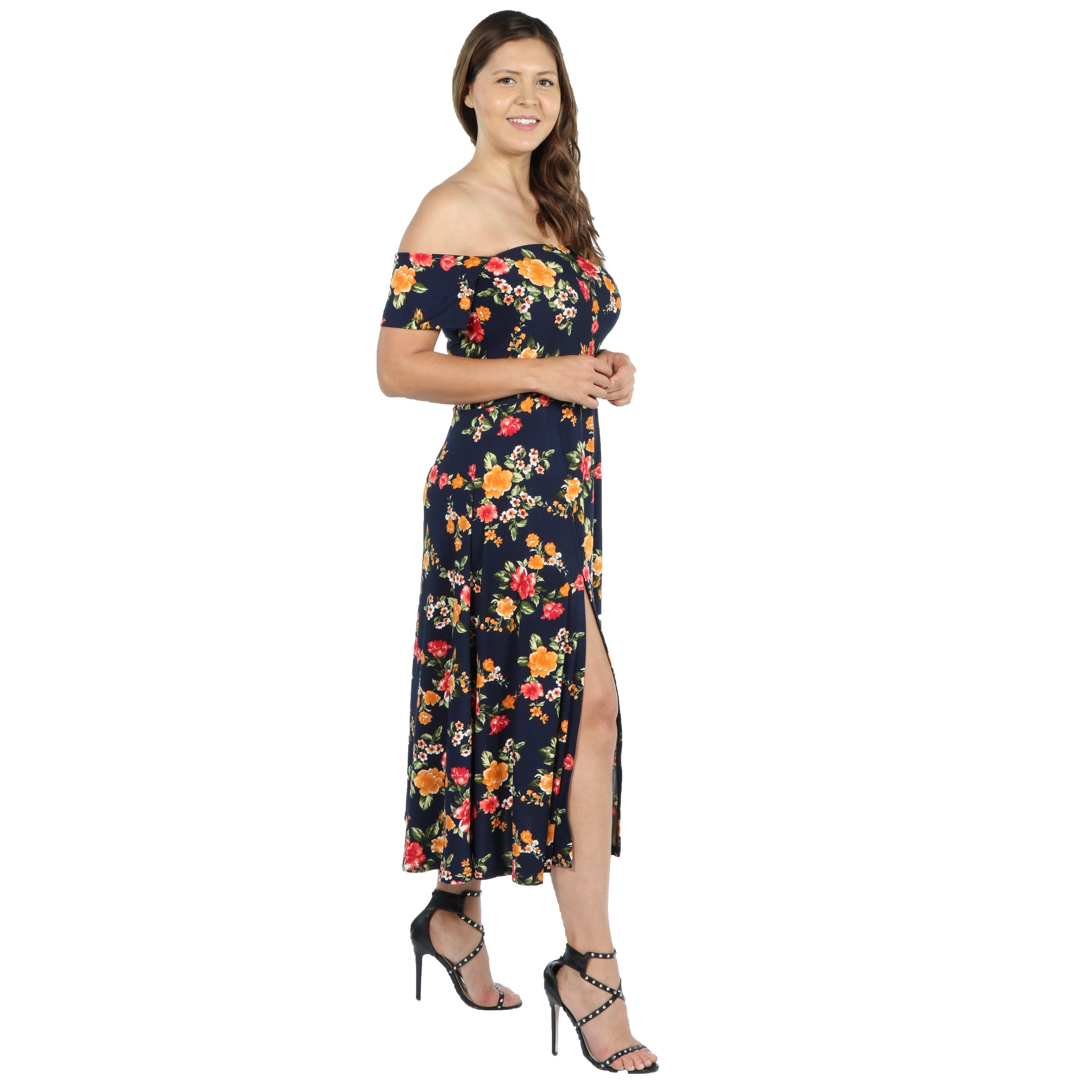c9fdc50a83b75 Shop 24Seven Comfort Apparel Eleanor Navy Floral Side Slit Plus Size Dress  - Free Shipping Today - Overstock.com - 20685755