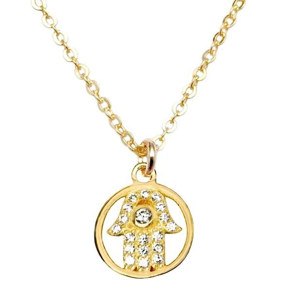 "Julieta Jewelry CZ Hamsa Hand Gold Charm 16"" Necklace"
