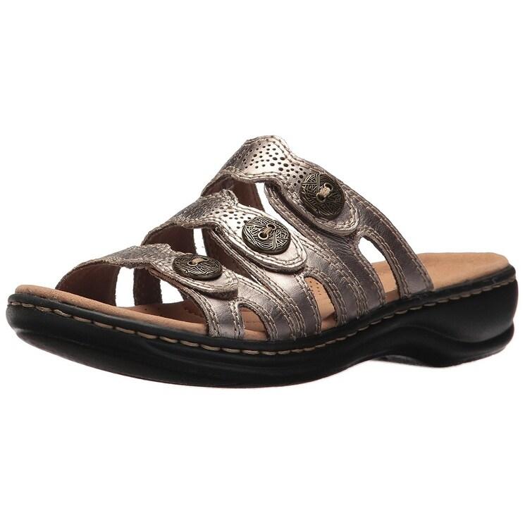 6ccf8ab534c Shop CLARKS Womens Leisa Grace Leather Open Toe Casual Slide Sandals ...