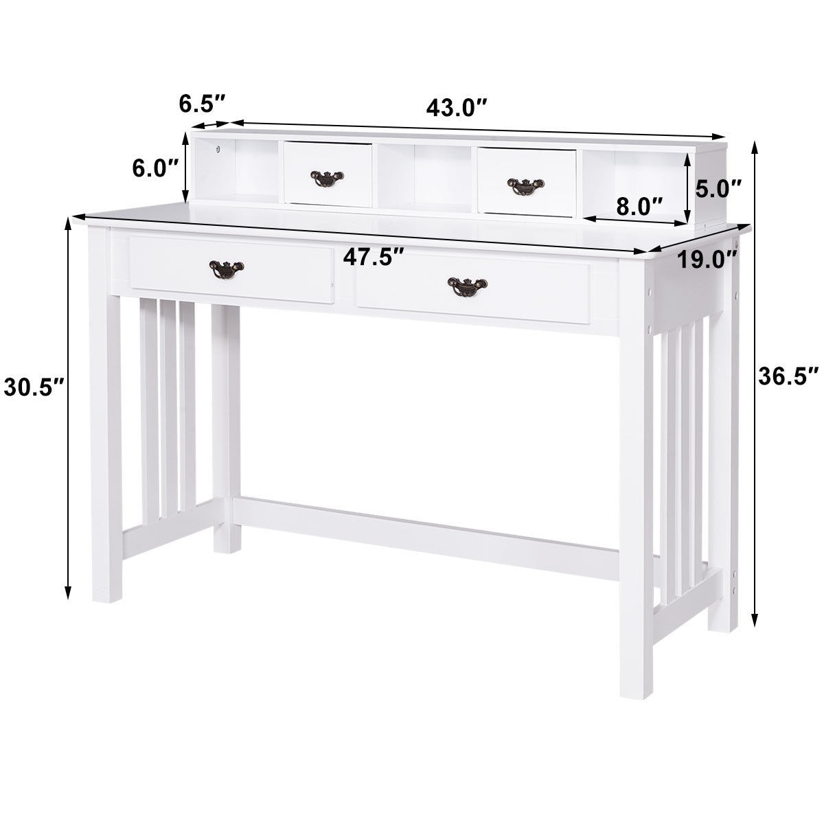Costway Writing Desk Mission White Home Office Computer Desk 4 ...