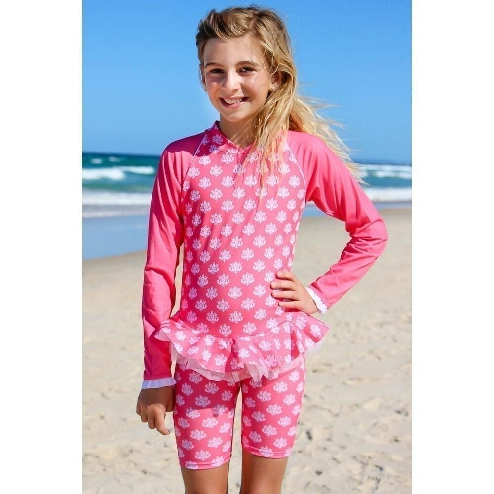 e1213d532f98 Sun Emporium Little Girls Coral Indian Damask Long Sleeved Sun Suit