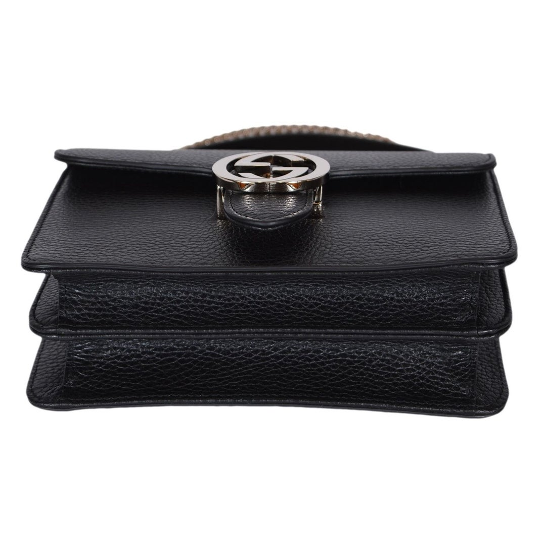 f4291a760f7 Shop Gucci Women s Black Leather 510304 Interlocking GG Crossbody Purse  Handbag - 7.75