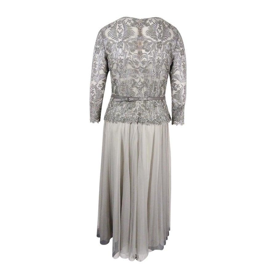 Shop Tadashi Shoji Women\'s Illusion Lace and Chiffon Gown (Ash Grey ...