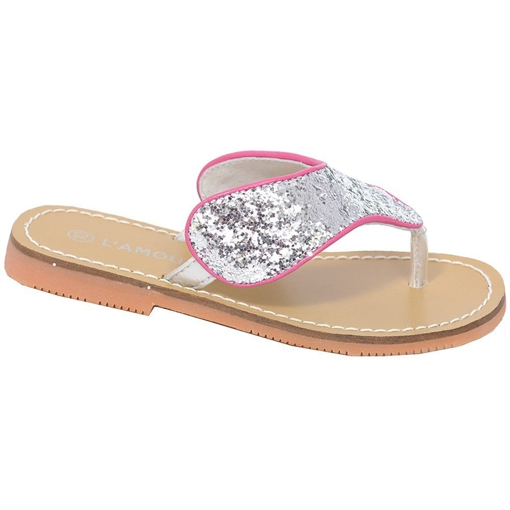 62b96fc072d0 Shop L Amour Silver T Strap Flip Flop Summer Spring Sandal Toddler Girl 7-10  - Free Shipping On Orders Over  45 - Overstock - 23084872