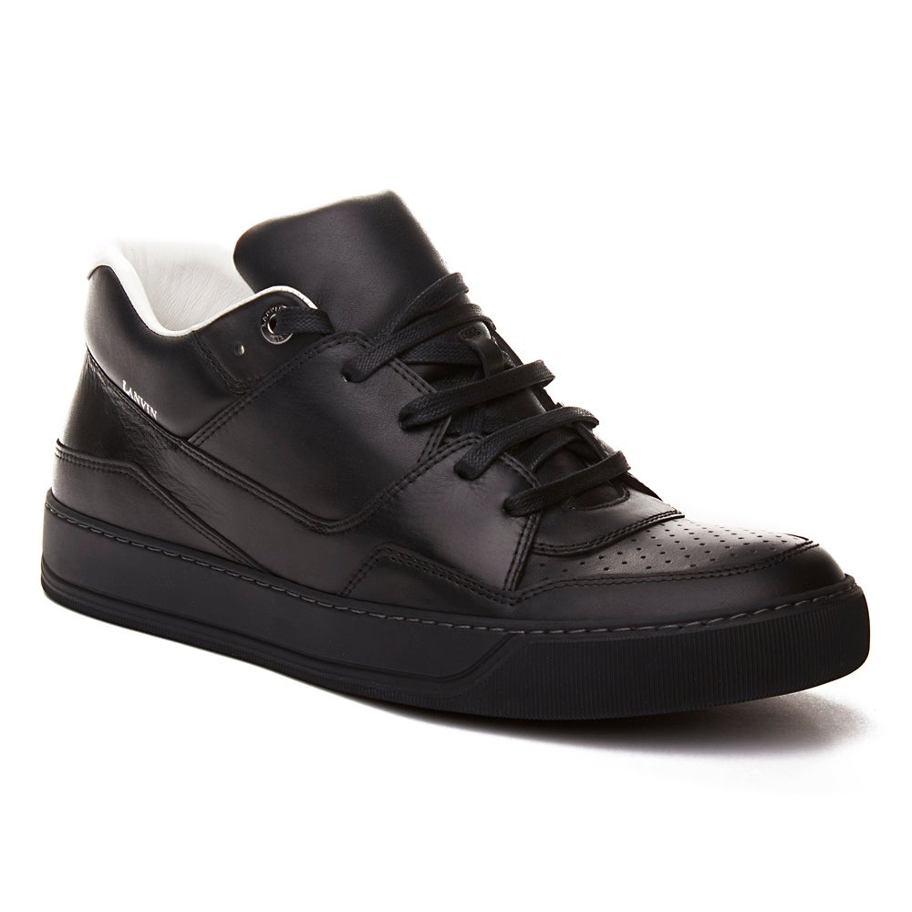 c6fa46ea14e26 Shop Lanvin Men's Leather Mid-Top Sneaker Shoes Black - On Sale - Free  Shipping Today - Overstock.com - 20477734