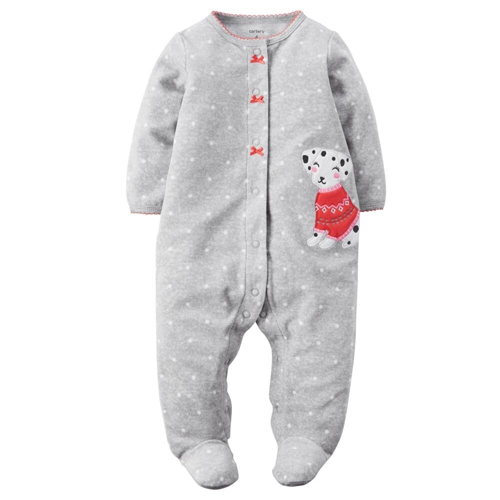 f22189990d1a Shop Carters Girls 0-9 Months Puppy Fleece Snap-Up Sleeper - grey ...