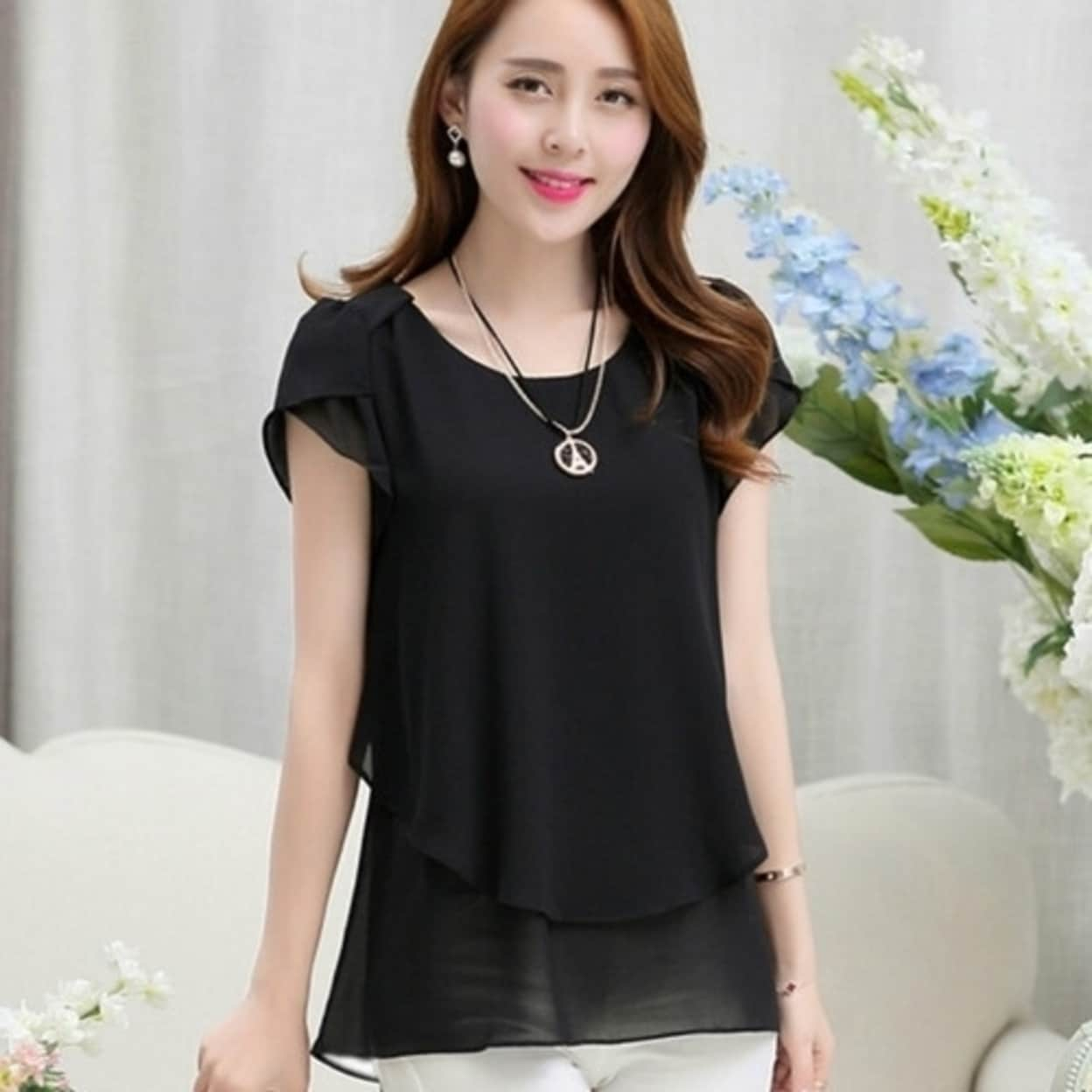 7f51f89457a Shop Elegant Summer Plus size women chiffon blouses shirts o neck short  sleeve double irregular solid fashion casual ladies - Free Shipping On  Orders Over ...