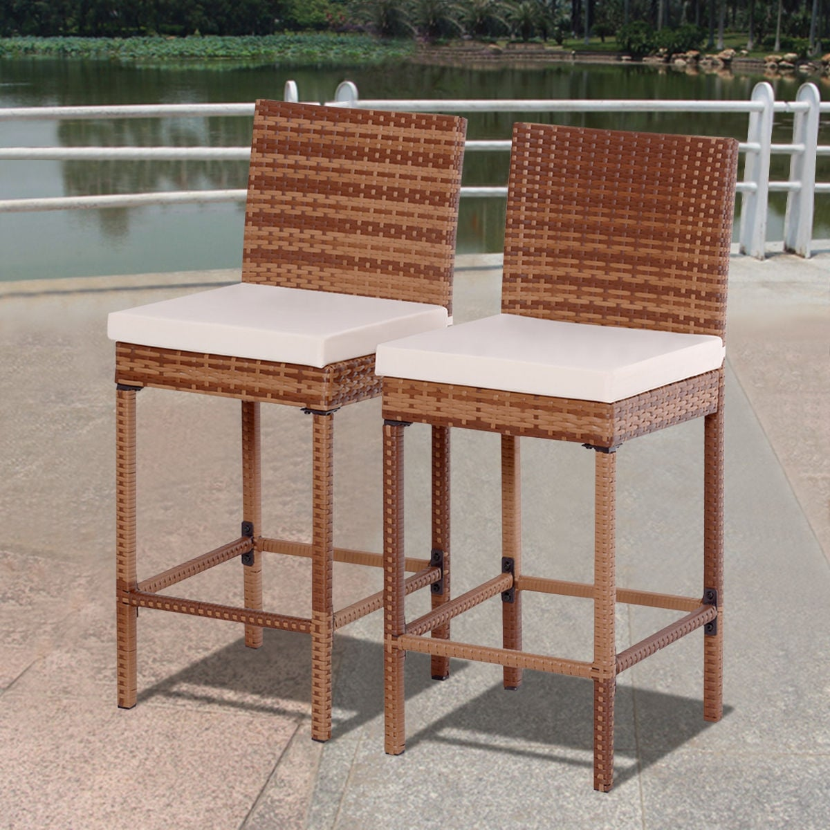 Shop Costway Set Of 2 Patio Rattan Bar Stool Chair Steel Frame Wicker  Barstool W/Cushions   Free Shipping Today   Overstock.com   17056618