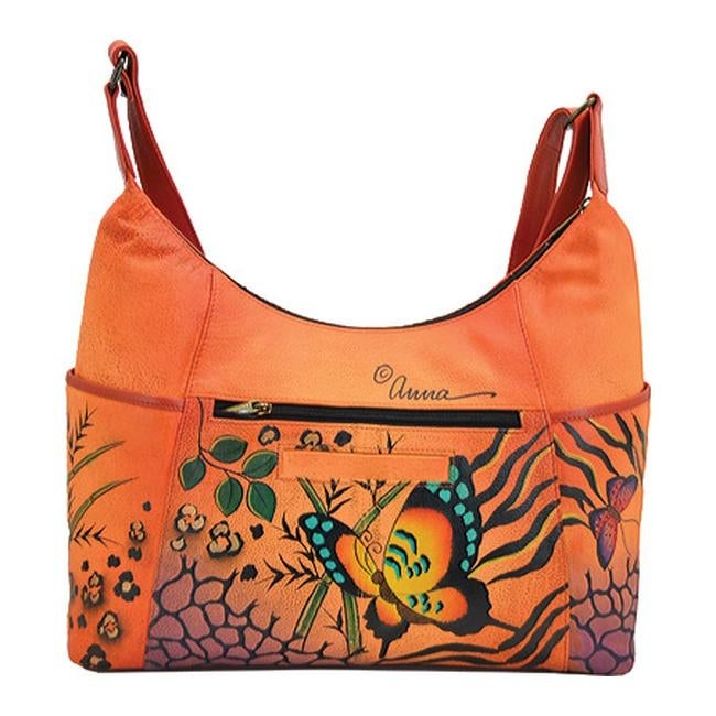 426fadd7b14a Shop ANNA by Anuschka Women s Hand Painted Large Shoulder Hobo 8082 Animal  Butterfly Tan - US Women s One Size (Size None) - Free Shipping Today -  Overstock ...