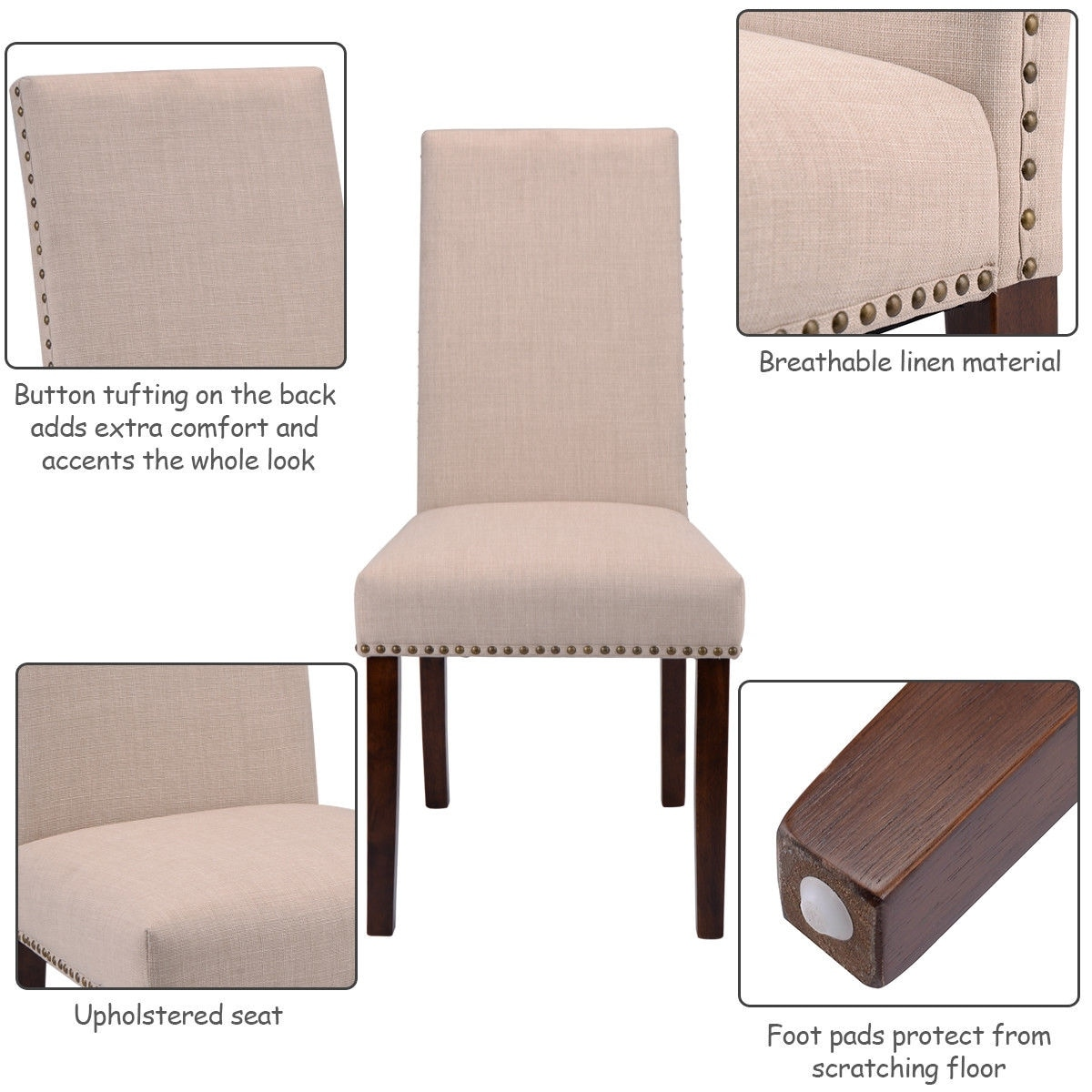 Shop Costway Set Of 2 Dining Chairs Fabric Upholstered High Back Armless  Home Furniture   Free Shipping Today   Overstock.com   18522236