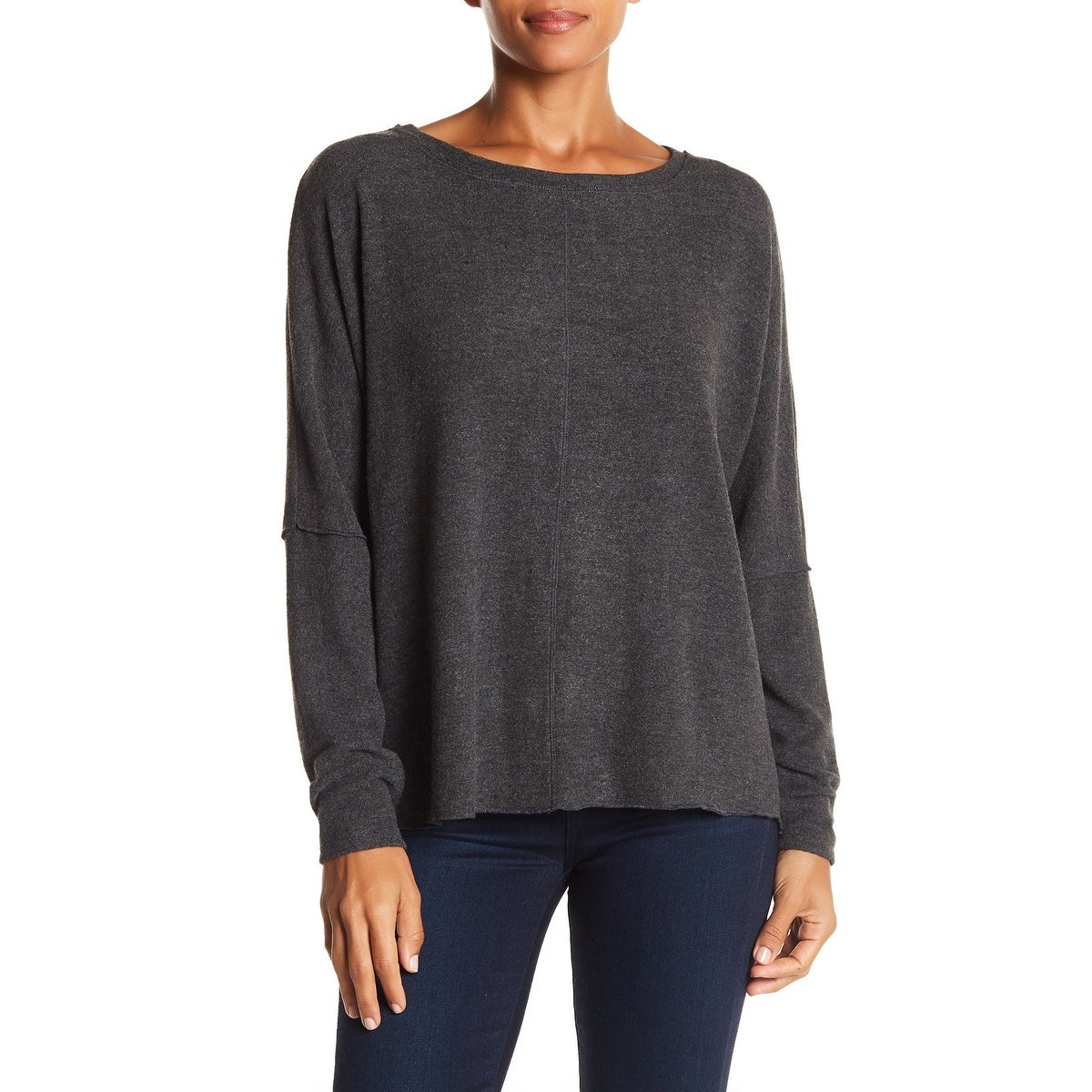 newest 73073 2c3ed H By Bordeaux Gray Womens Small S Brushed Dolman Pullover Sweater