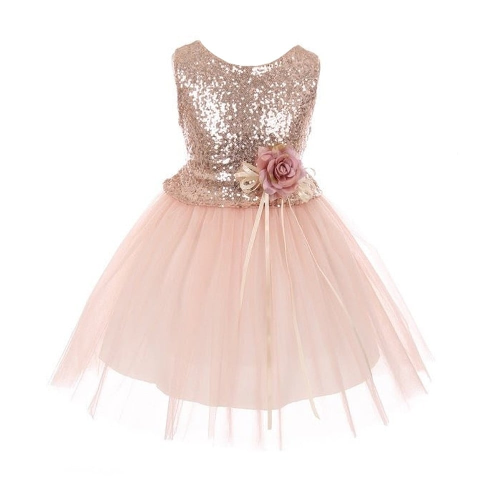 Girls Blush Glitter Sequin Floral Adornment Junior Bridesmaid Dress ...