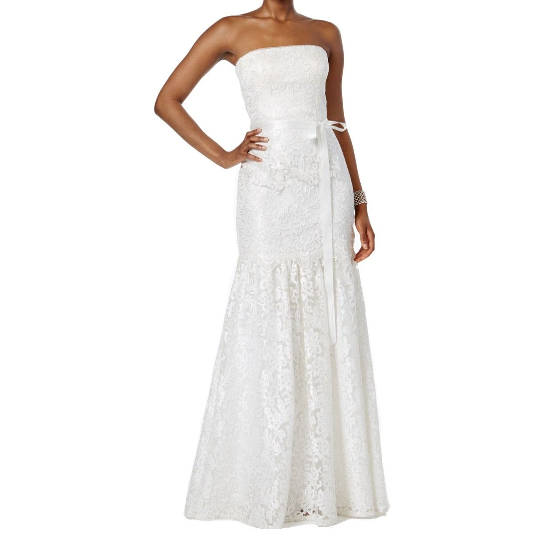 Adrianna Papell White Womens Size 10 Sequin Mermaid Gown Dress ...