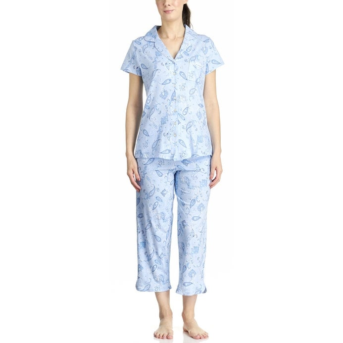 Shop Aria Sleepwear Womens Short Sleeve Paisley Capri Pajama Set